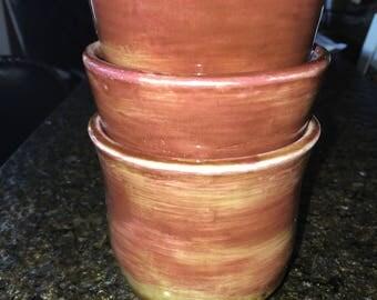 Three Handmade 8oz Cups