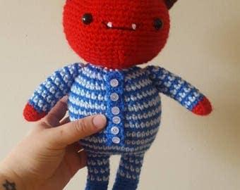 Crochet baby devil~red monster toy~ bunny slippers
