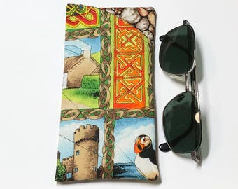 Glasses/Sunglasses Fabric Case - Padded Irish themed Fabric Soft Case/Pouch and contrast pebble fabric lining, Gifts under 20, Gifts for Her
