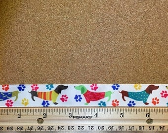 Colorful Dachshunds and Paw Prints 7/8 inch Grosgrain Ribbon