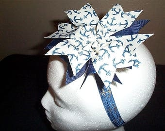Anchor Print Hair Bow on Anchor Headband