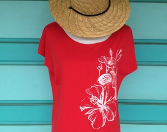 The White Hibiscus T-Shirt -- Free Shipping -- Made in Hawaii