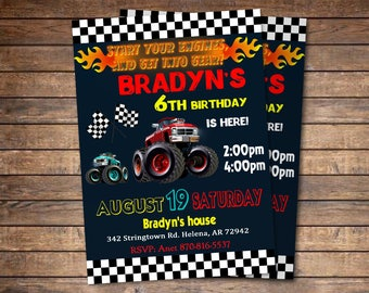 Monster Truck Invitation - Monster Truck Birthday Invitation - Truck Birthday Party Invitation