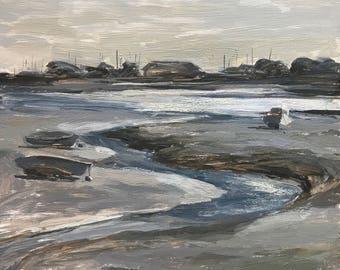 Seascape Original Oil Painting, Langstone Harbour