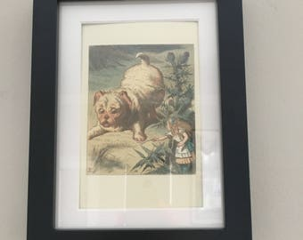 Classic Alice in Wonderland Illustration - framed Postcard - Puppy