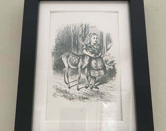 Classic Alice in Wonderland Illustration - framed Postcard - Alice with deer - Black and White