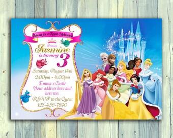 Disney Princess Invitation, Princess Birthday Invitation, Disney Princess Party, Princess Invitation, Disney Princess, Princess Birthday.
