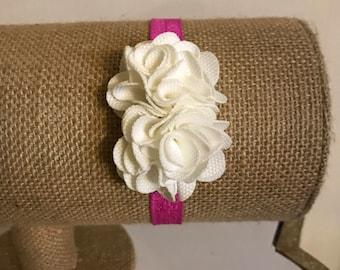 White Flowers w/ Hot Pink elastic for Newborns