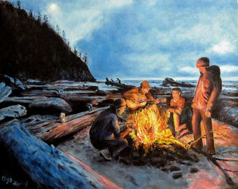 "Giclee fine art print, Camping, titled ""Evening campfire"", Olga Harhaj, 8x10"