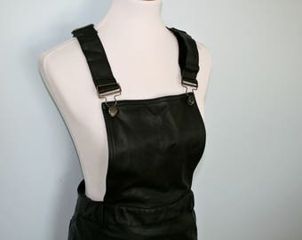 Black faux leather overall mini dress