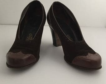Vintage 1940s 1950s Spectator Pumps Size 8.5,Two Tone Brown Suede and Leather, Ladies Heels, 1950 s Brown Shoes,Pin up Court Modern size 8.5