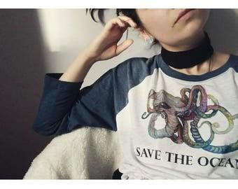 Save the ocean, watercolour octopus shirt, raglan tultex shirt, 3/4 sleeve, marine conservation awareness long sleeve