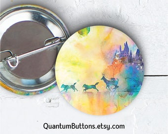 "Harry Potter Button, 1.5"" Pin-back Button, Marauders Pin, Harry Potter Gift, Marauders Button, Hogwarts Flair, Watercolor, 082"