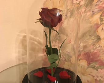 Big Beauty and the beast rose, Artificial flower, Enchanted Rose, Rose in glass dome, Forever Rose, Belle rose, Disney rose