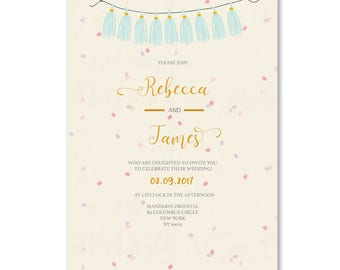 WEDDING INVITATION - Beautiful floral wedding invite - wedding invitation set - wedding invitation rustic - floral wedding invitation suite