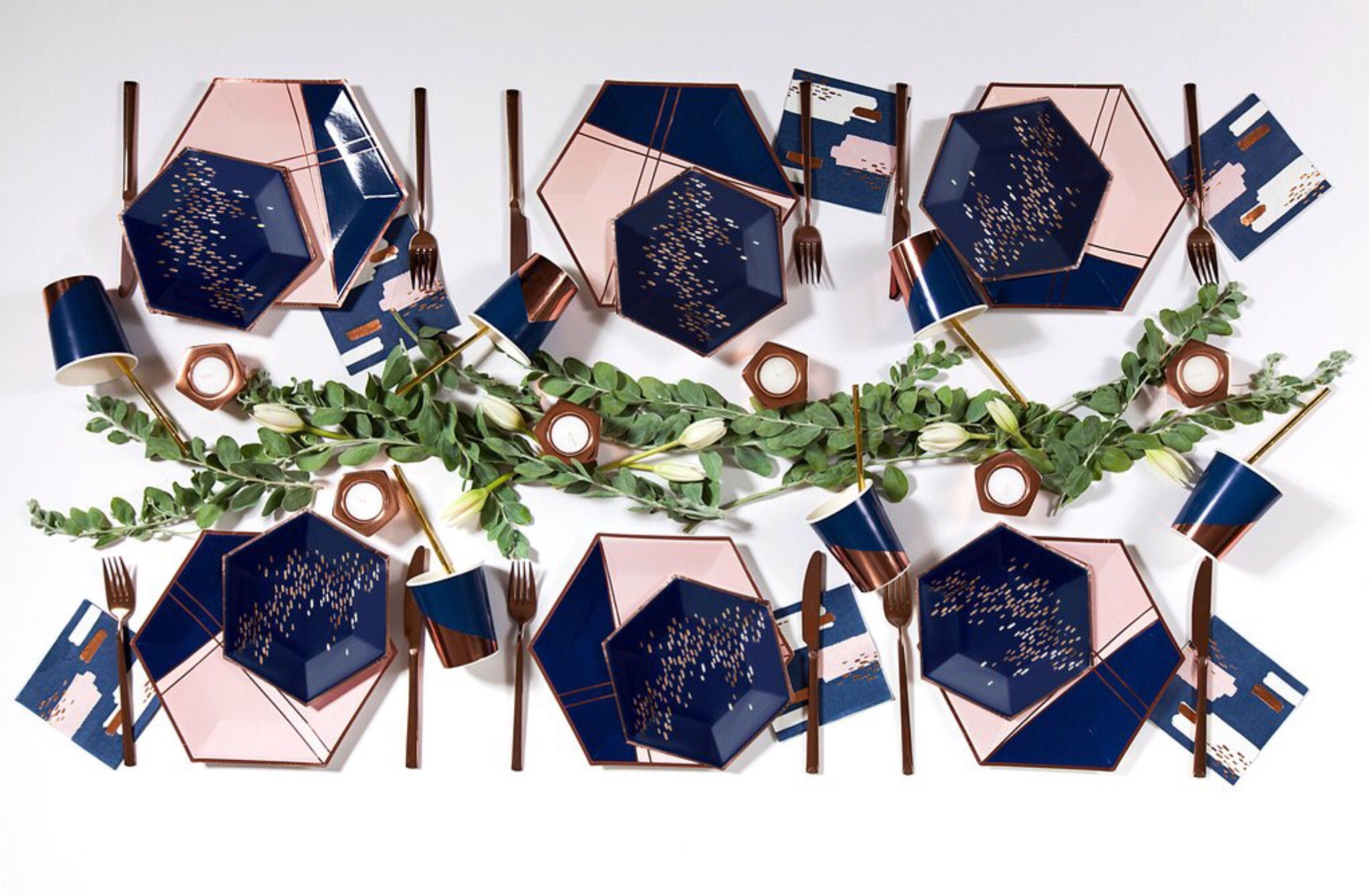 Rose Gold Paper Plates Blush Navy Blue u0026 Rose Gold Hexagon Large Plates  sc 1 st  Buy amazing brands Womens u0026 Mens Athletic Shoes clothing ... & Rose Gold Paper Plates Blush Navy Blue u0026 Rose Gold Hexagon Large ...