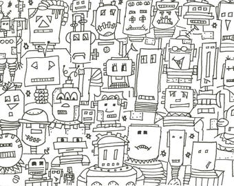 Cool ROBOT colouring page.  Hand drawn. Instant Download A5