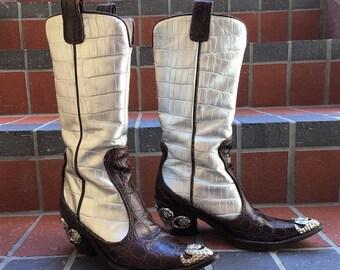 Vicini by Giuseppe Zanotti Embellished Italian Crocodile Leather Boots with Amazing Rockstar Vibe