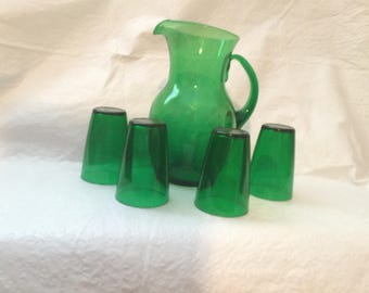 Green pitcher and glasses