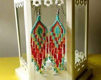 Huichol Handmade earrings/ Mexican Art / Huichol Chaquira / Mexican earrings/ ethnic earrings / boho chic / Women's earrings