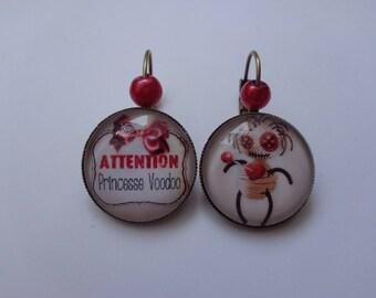 "Earrings cabochon 20mm ""Vaudoo Princess"" theme."