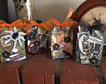 Halloween Treat Boxes, set of 6 candy gift boxes, Trick or Treat, halloween theme , heavily embellished, skulls,ravens,bats,spiders,flowers