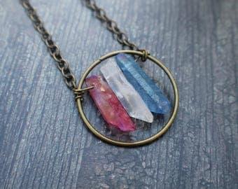 Red White Blue AB Quartz Points Patriotic Necklace *Free Gift*