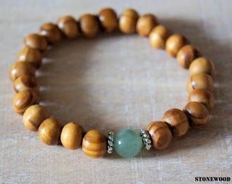 Bracelet wood beads and green aventurine gemstone beads