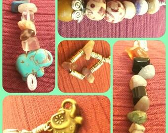 Bundle/Mix or Dread accessory beads with semi precious stones & elephants!