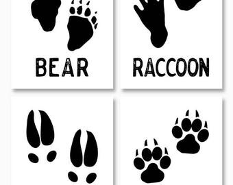 RUSTIC HOME DECOR, Woodland Nursery, Instant Download, Digital Printables, Paw Prints, Set of Four, Bear, Fox, Deer, Raccoon