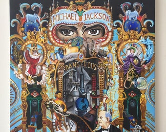 ONE OF A KIND Michael Jackson Art Painting! 20 x 20 inch canvas. Dangerous.