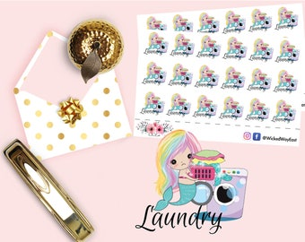 Mermaid Planner Stickers, Mermaid Laundry To Do Planner, Chores Planner Sticker, Mermaid Accessories, Cute Kawaii Sticker