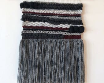 Grey, Black, and Cranberry Wall Weaving