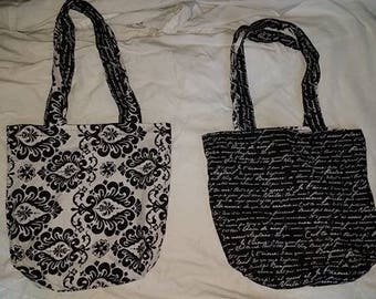 Reversible Black and White Paisley French Tote Bag