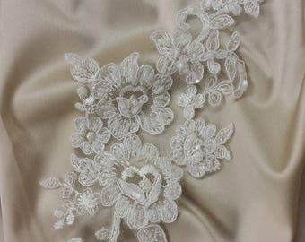 Ivory Lace applique, Beaded lace applique, French Chantilly lace applique, 3D lace, bridal lace applique M0003