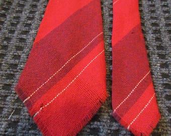 Indian Cravats tie, hand woven, Sandia weavers, 100% wool, red, Christmas tie, Holiday tie,winter tie, retro, vintage, necktie, neck tie T16