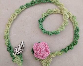 Bookmark Crochet Pink Rose Bookmark