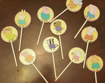 Peppa Pig Cupcake Toppers... set of 24.peppa pig birthday party...cupcake toppers...peppa pig birthday..peppa pig cake toppers