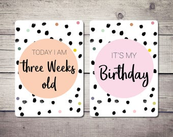 Baby Milestone Cards, Polka Dot, Baby Shower