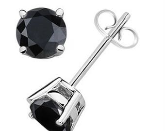 3.00 CTW Round Black Diamond Solitaire Stud Earrings In 14K Gold