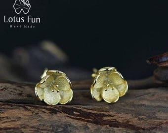 Handmade Earrings, Silver Earrings, Unique Earrings, Stud Earrings, Flower Earrings, Gold Earrings, Creative Earrings, Vintage Earrings