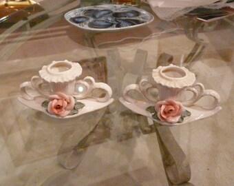 Antique Karl ENS Ceramic candle holder - pair