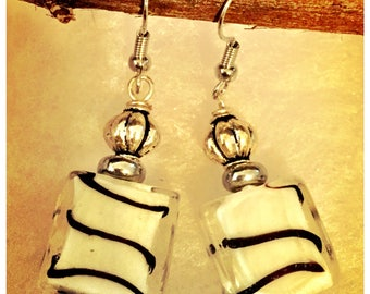 Zella Jewellery Black and White striped square glass bead earrings truly beautiful bead to work with. Look very nice when worn.