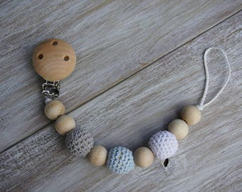 Natural Wooden Pacifier Clip with Crochet