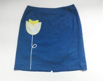 Vintage Blue Tulip Knee Length Skirt with Pocket