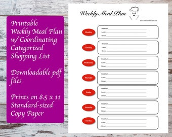 Printable Weekly Meal Plan Template with Coordinating Categorized Shopping List, Meal Planning, Meal Plan, Meal Planner, Grocery List
