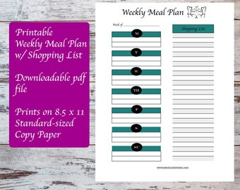 Printable Weekly Meal Plan Template including Shopping List, Meal Planning