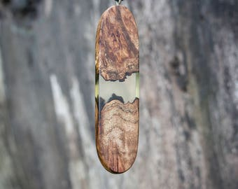 Elongated Oval Resin Wood Pendant Necklace / Landscape Wood Resin Pendant