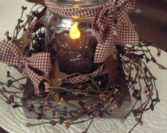 Mason jar flameless candle arrangement - (Country Red)