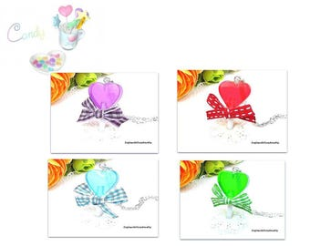 Necklaces lollipop red, green, blue or purple heart in resin in the choice